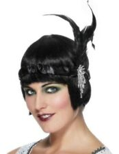 20s 1920s Charleston Flapper Headband Feather Satin Fancy Dress Black by Smiffys