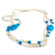 STUNNING GENUINE TURQUOISE AND FRESHWATER PEARL TWO STRAND NECKLACE