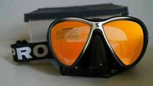 SCUBAPRO SYNERGY 2 TWIN DIVE MASK MIRRORED LENS WITH COMFORT STRAP BLACK/SILVER