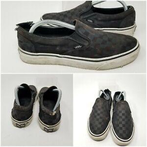 Vans Canvas Black Check Waffle Sole Slip On Low Skate Shoes Sneaker Men Size 9