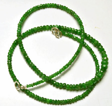 "NATURAL 18"" TOP QUALITY GREEN GARNET FACETED RONDELLE BEADS NECKLACE 2 - 5 MM"