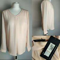 New M&S Women Top Blouse Blush Pink Long Sleeve V Neck Work Office Casual UK 10