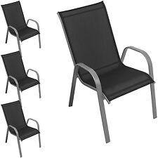 Stapelstuhl Gartenstuhl Balkonstuhl stapelbar Stahl Textilen Silb / Schw 4er Set