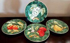 American Atelier Porcelain Lattice Fruit Salad Plates x4 Fruit on Green