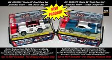2 Custom Display Cases AW ROUTE 66 ROAD RACE Set Only Cars 69 Charger & 55 Chevy