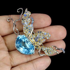 Handmade Fancy Sky Blue Topaz 13.11ct Blue Sapphire 925 Sterling Silver Brooch