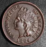 1884 INDIAN HEAD CENT - With LIBERTY & DIAMONDS - XF EF+