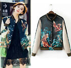 Reversible Satin Embroidered Bomber Jacket Women Baseball Coat Floral Embroidery