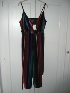 NEW PRIMARK JUMPSUIT/PLAYSUIT/ALL IN ONE CROPPED STRETCH MULTI STRIPED - 12 BNWT