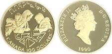 Kanada 100 Dollar Gold 1990 Uno-Jahr 1/4 Unze, Polierte Platte (PP, Proof)