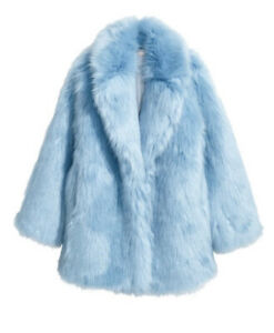 H&M Limited Edition Baby Blue Faux Fur Jacket Size 2 RARE Sold Out