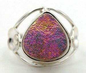 Natural Titanium Druzy 925 Sterling Silver Ring Jewelry Sz 8, HB4-3