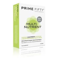 Prime cincuenta | 32+ nutrientes multinutricionales con anti-envejecimiento Multivitaminas | 30