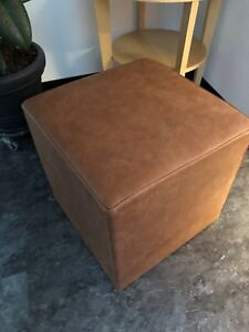 Stool Cube Stool Pouf Real Leather Vintage Used Cognac 17 11/16x17 11/16in