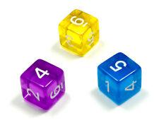 3er Set/ 6 Seitige Würfel mit Zahlen /D6/W6/farbig Transparent Bunt/Ziffern 1-6
