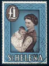 St Helena SG189a 1965 £1 Chocolate & Light Blue Chalky Paper Fine Used