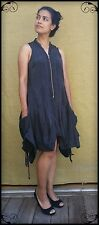 ALLSAINTS Extravagant-Elegant Black Silk Dress Pockets Metal Zip. At Front Sz 14
