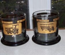 SET OF 2 COLLECTIBLE MACK TRUCK WHISKEY GLASSES - WIDE BOTTOM BAR GLASS