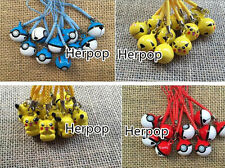 10 pcs cartoon Pikachu Pokemon go mix bell Mobile phone chain pendant kids toy