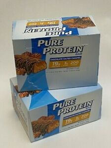 2 Boxes Pure Protein Bar Chocolate Salted Caramel 1.76 Oz Each 6 Count Per Box