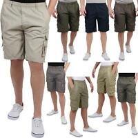 Mens Cotton Cargo Shorts Plain Basic Casual Work Chinos Combat Pants Regular