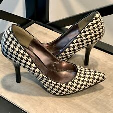 Rampage Black & White Houndstooth Plaid Fabric High Heels-Size 7