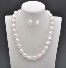 Real Natural 9-10mm South Sea White Baroque Pearl Necklace Earring