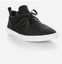 NEW GIRLS Justice Sneakers Black Glitter Mesh Size 5