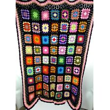 "Vintage Crochet Granny Square Handmade Blanket Afghan 45""x60"""