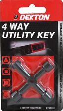 4 Way Utility Key/Clé radiateur eau électrique Compteur de gaz porte plomberie