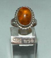 Ring aus 835er Silber Fischland mit Bernstein/Amber, Gr. 55/Ø 17,5 mm  (da4308)