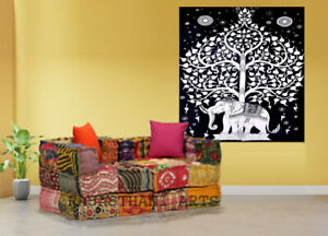 Indian Bohemian Floor Sofa Patchwork modular Sofa Ethnic Multicolored  Ottomans
