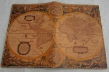 Unusual leather(?) printed vintage US/Australia map passport cover