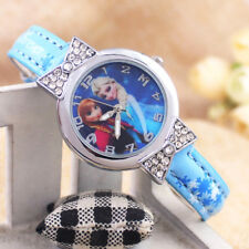 Disney Frozen Elsa & Anna Children Girls Kids Quartz Rhinestone Blue Wrist Watch