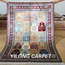 Yilong 4'x6' Four Season Silk Rug Handmade Carpet Garden Scene Hand Knotted 0665