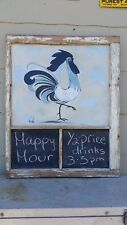 Original Signed, C Jane Art Painting, Rooster, 34 x 28 Window Framed Chalk Board
