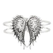 Wings Bracelet Hinge Bangle Double Metal Bar Textured SILVER Angel Love Jewelry