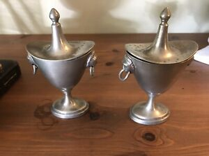 Two Vintage Pewter Cups With Tops