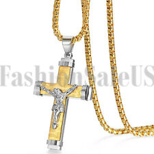 Mens Stainless Steel Black Silver Gold Tone Jesus Cross Pendant Necklaces Chain