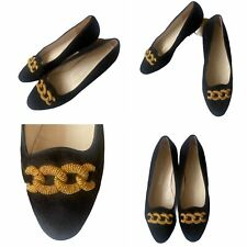 Russell Bromley Size 41.5 8.5 Black Suede Gold Chain Loafers Pumps Shoes Womens