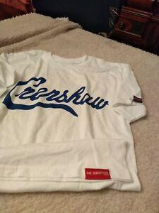 the marathon clothing t shirt  unisex white/ royal crenshaw, size small