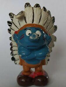 Puffo raro capo indiano smurf schleich Peyo 1981 Made in Hong Kong come da foto