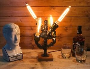 Fantastic Industrial Quad Light Steampunk Desk / Table Lamp, Upcycled, Edison