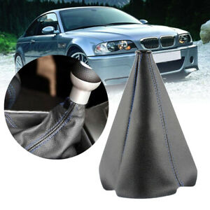 Universal SUV Car Black Leather Stitch Manual Gear Shift Knob Shifter Boot Cover