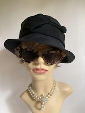 LYSDAIM Black Fabric Short Brim Casual Fully Lined Hat Button Loop Decoration