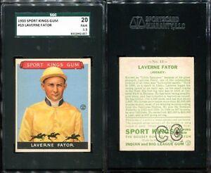 1933 GOUDEY SPORT KINGS #13 LAVERNE FATOR SGC 20 1.5 (057) GREAT EYE APPEAL
