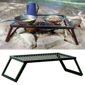 Portable Campfire Grill Grate Camping BBQ Cooking Open Over Fire Outdoor