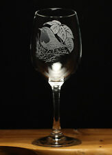 Robin Bird engraved wine glass gift present