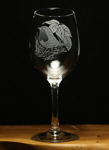 Robin Bird engraved 350ml wine glass gift present