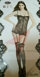 Sexy Calze Bodystocking Catsuit GUEPIERE  Intimo Sexy  Donna Nero Tg mod8958